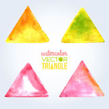 Abstract hand drawn watercolor background, vector. Watercolors on wet paper. Watercolor triangles for scrapbook elements. Yellow, pink and green paints Royalty Free Stock Photography