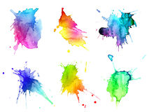 Abstract hand drawn watercolor blots set
