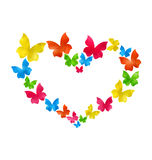 Abstract hand-drawn watercolor butterflies for Valentines Day, c Stock Photography