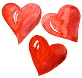 Abstract hand drawn watercolor hearts set. Isolated on a white background Royalty Free Stock Photography