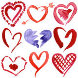 Abstract hand drawn watercolor hearts set. Isolated on a white background Royalty Free Stock Images