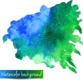 Abstract hand drawn watercolor vector background. Wet water color stain on paper. Watercolor composition with space for text. Watercolor stain isolated on vector illustration