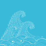 Abstract hand-drawn waves background Stock Photo