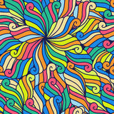 Abstract hand-drawn waves pattern, seamless floral vector backgr. Ound Stock Image