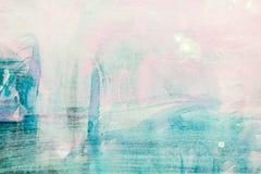 Abstract hand geschilderd canvas met blauwe penseelstreken over roze bedelaars Stock Foto's
