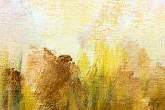 Abstract hand geschilderd canvas met expressieve bruine en gele br Royalty-vrije Stock Foto's