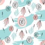 Abstract Hand Getrokken bloemenkrabbelpatroon Stock Afbeeldingen