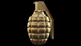 Abstract Hand grenade in gold color stock footage