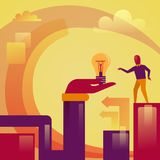 Abstract Hand Holding Light Bulb Business Man New Startup Idea Development Concept. Vector Illustration Royalty Free Stock Photography