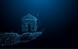 Abstract Hand holding a small house form lines and triangles, point connecting network on blue background Stock Images