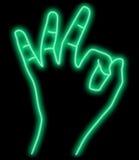 abstract hand neon ok διανυσματική απεικόνιση