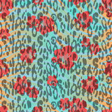 Abstract hand painted animal background. Animal skin with red fl Stock Photo