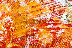 Abstract hand painted background with vibrant red and orange bru Royalty Free Stock Photos