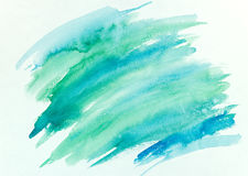 Abstract hand painted colorful striped watercolor background. Blue and green watercolor brush stroke abstract hand painted background Stock Image