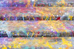 Abstract artistic background with splashes of paint. Abstract, hand painted colorful wooden background royalty free stock photos