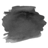 Abstract Hand Painted Grayscale Watercolor ink spot.  Stock Images
