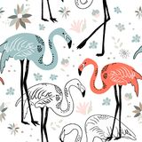Abstract hand painted seamless animal background. Birds Flamingo Stock Photos