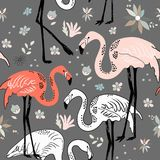 Abstract hand painted seamless animal background. Birds Flamingo Stock Images