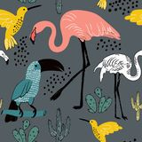 Abstract hand painted seamless animal background. Birds pattern. Royalty Free Stock Images