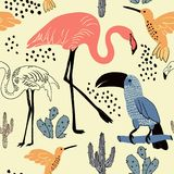 Abstract hand painted seamless animal background. Flamingo, Toucan birds pattern. Stock Photo