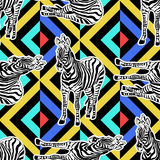 Abstract hand painted seamless animal background. Zebra pattern Stock Image