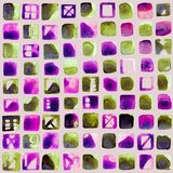 Abstract  hand-painted square backgrounds. Colorful seamless backdrop. Stock Image