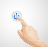 Abstract Hand Pressing Power Button. Vector made in illustrator Stock Image
