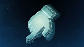 Abstract hand sign with blue background. 3D rendering. Abstract hand sign with blue background Royalty Free Stock Photo