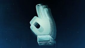 Abstract hand sign with blue background. 3D rendering. Abstract hand sign with blue background Stock Photography