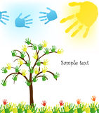 Abstract hand tree. Vector Background. Banner vector illustration