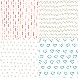 Abstract handdrawn seamless patterns set. Simple texture for backround, fabric or other types of design. Stock Photos