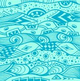Abstract handmade Ethno Zentangle  background in  blue Stock Photo