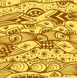 Abstract handmade Ethno Zentangle  background in  beige brown Stock Photography