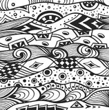 Abstract handmade Ethno Zentangle  background  black on white Stock Photos