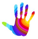 Abstract handprint in vibrant colors royalty free illustration