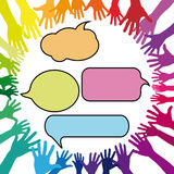 Abstract hands in circle with speech bubbles Stock Images