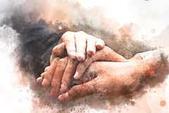 Abstract handshake concept on watercolor painting. Abstract Join hands business concept and handshake concept on watercolor painting background stock illustration