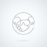 Abstract handshake icon. Handshake sign. In the circle, on white background. Vector illustration vector illustration