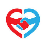 Abstract handshake icon. Vector illustration. Abstract red and blue handshake icon. Handshake sign inside in the heart, on white background. Vector illustration royalty free illustration