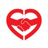 Abstract handshake icon. Vector illustration. Abstract red handshake icon. Handshake sign inside in the heart, on white background. Vector illustration royalty free illustration