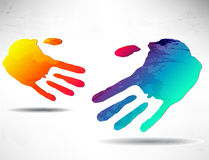 Abstract handshake. Two abstract hands. Handshake. Colored hand stock illustration