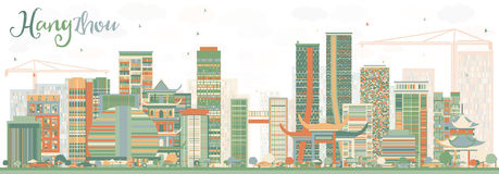 Abstract Hangzhou Skyline with Color Buildings. Vector Illustration. Business Travel and Tourism Concept with Modern Architecture. Image for Presentation Stock Photos