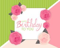 Abstract Happy Birthday Background Card Template with Flowers Vector Illustration Stock Photos