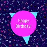 Abstract Happy birthday background, memphis style. Abstract geometric background for Happy birthday greeting card with different geometric shapes - triangles Stock Images