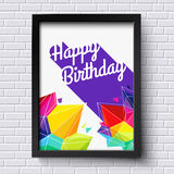 Abstract Happy Birthday card. Black frame on brick wall. Vector Stock Images
