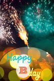 Abstract fireworks happy birthday card. Abstract happy birthday card design with fireworks and cake candles, mixed media Stock Photo