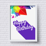 Abstract Happy Birthday card. White frame on brick wall. Vector Royalty Free Stock Images