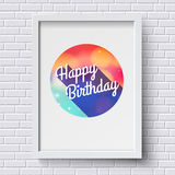 Abstract Happy Birthday card. White frame on brick wall. Vector Stock Photos