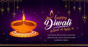 Free Abstract Happy Diwali Illustration With Traditional Diya Stock Photos - 159370193