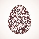 Abstract Happy Easter Lettering in Form of Egg Royalty Free Stock Photos